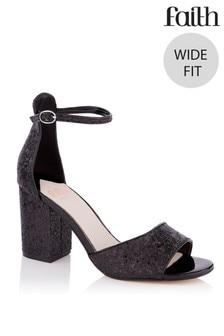 Faith Glitter Block Heel Sandals