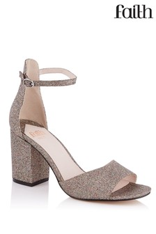 Faith Glitter Block Heel Sandals