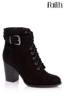 Faith Lace Up Block Heel Boots
