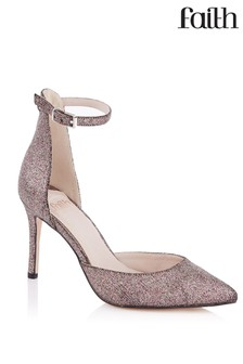 Faith Wide Fit Glitter Open Court Sandals