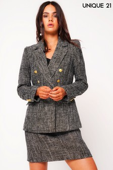 Unique 21 Double Breasted Tweed Blazer