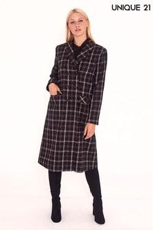 Двубортное шерстяное пальто в клетку Unique 21