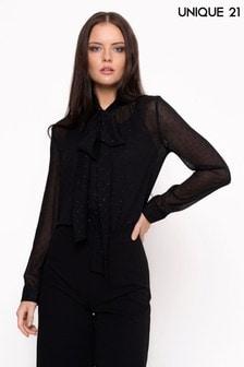 Блузка в горошек с завязкой-бантом Unique 21