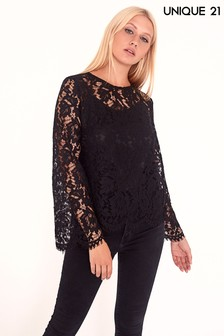 Unique 21 Lace Long Sleeve Top