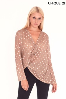 Unique 21 Long Sleeve Polka Print Blouse