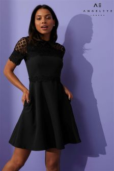 Angeleye Lace Top Skater Dress