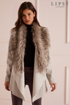 Lipsy Faux Leather Faux Fur Collar Waterfall Jacket