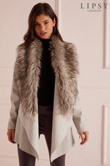 e8d6c32649fb Lipsy Faux Leather Faux Fur Collar Waterfall Jacket
