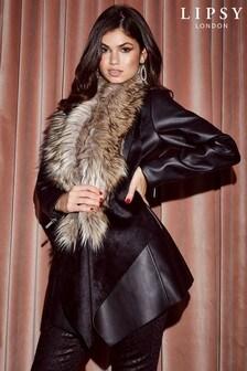 Lipsy Faux Leather Faux Fur Collar Waterfall Jacket