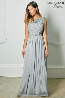 שמלת מקסי עם חלק עליון רקום וחצאית שיפון של Sistaglam Loves Jessica Rose