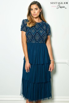 Sistaglam Loves Jessica Rose Short Sleeve Embroidered Bodice Tiered Midi Dress