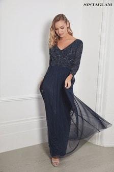 Платье макси с длинными рукавами и вышивкой на топе Sistaglam