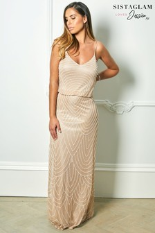 Sistaglam Loves Jessica Rose Embroidered Mesh Overlay Maxi Dress