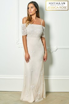 Sistaglam Loves Jessica Rose Embroidered Short Sleeve Maxi Dress