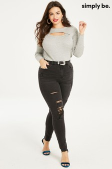 Simply Be Chloe High Waist Distressed Skinny Jeans
