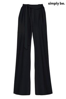 Simply Be Wide Leg Tie Waist Trousers