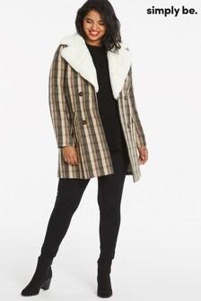 Simply Be Faux Fur Lapel Collar Check Coat