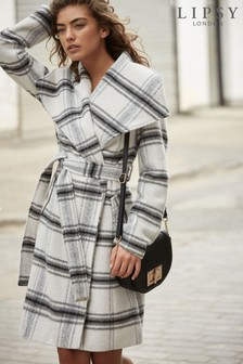 Lipsy Belted Robe Check Coat