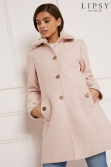 Lipsy Essential Faux Fur Collar Fit And Flare Coat