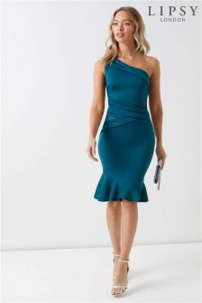 Lipsy One Shoulder Satin Panel Flute Hem Bodycon Dress