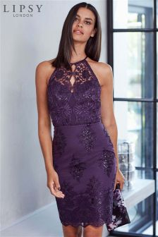 Lipsy Sequin Apron Neck Bodycon Dress