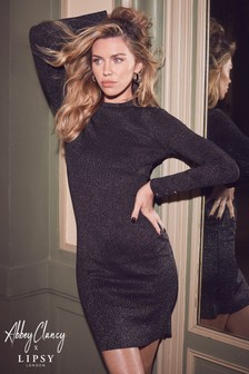 Abbey Clancy x Lipsy Glitter Turtle Neck Dress