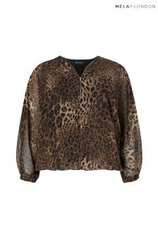 Mela London Curve Leopard Blouse