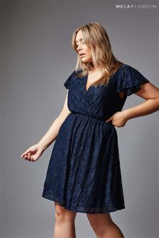 Mela London Curve Ruffle Sleeve Lace Dress