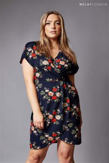 Mela London Curve Wrap Front Midi Dress