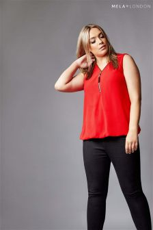 Mela London Curve Zip Sleeveless Blouse