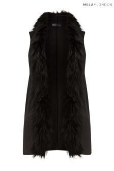 Mela London Curve Fur Collar Sleeveless Gillet