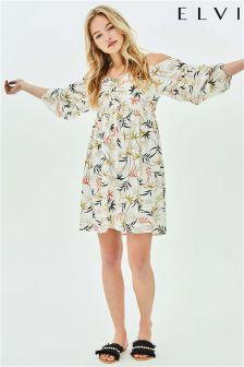 Elvi Leaf Print Smock Dress