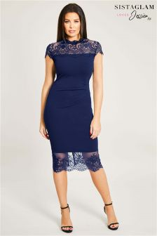 Sistaglam Loves Jessica Panel Lace Trim Dress