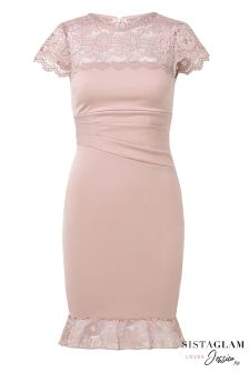 Sistaglam Loves Jessica Lace Panel Bandeau Dress