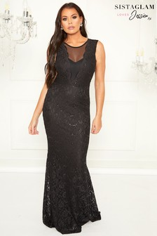 Sistaglam Loves Jessica Sequin Lace Maxi Dress