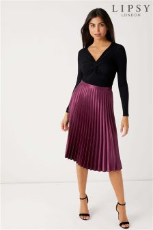 Lipsy Satin Pleated Midi Skirt