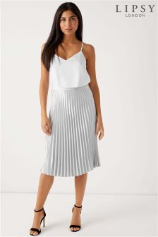Lipsy Satin Pleated Midi Skirt
