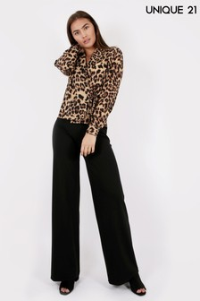 Unique 21 Animal Print Wrap Top