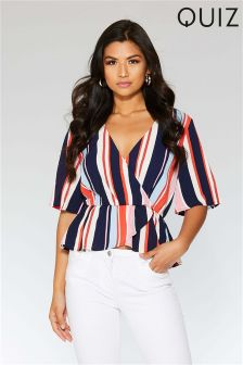 Quiz Stripe Wrap Front Top