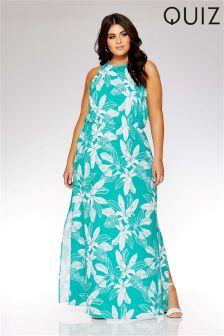 Quiz Curve Tropical Print High Neck Maxi Dress