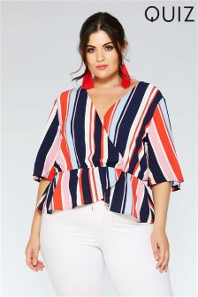 Quiz Curve Stripe Wrap Front Top