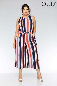 Quiz Curve Stripe High Neck Culotte Jumpsuit