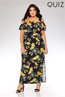 Quiz Curve Floral Bardot Frill Maxi Dress