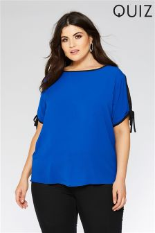 Quiz Curve Contrast Piping Cold Shoulder Necklace Top
