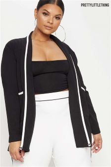 PrettyLittleThing Curve Contrast Piping Longline Blazer