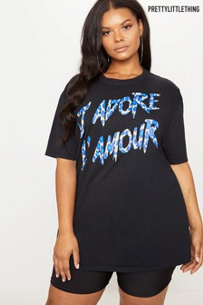 PrettyLittleThing Curve J'adore Lamour Logo Tee