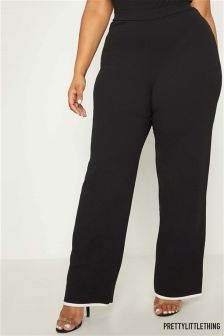 PrettyLittleThing Curve Contrast Piping Wide Leg Trousers