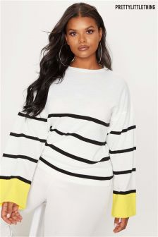 PrettyLittleThing Curve Contrast Cuff Striped Jumper
