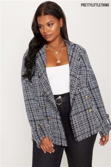 PrettyLittleThing Curve Fray Boucle Jacket
