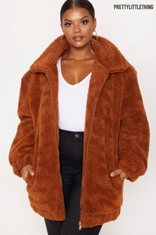 PrettyLittleThing Curve Teddy Bomber Coat